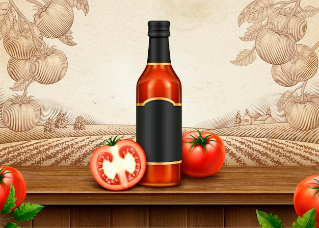 Retro-anzeigen des ketchup mit dem leeren paket der 3d-illustration auf dem tomatenobstgarten der gravurart