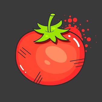 Retro anzeigenentwurf der tomaten mit roter saftiger tomate auf alter papierbeschaffenheit