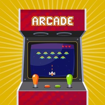 Retro arcade-spielautomat mit pixel-spiel. flache darstellung.