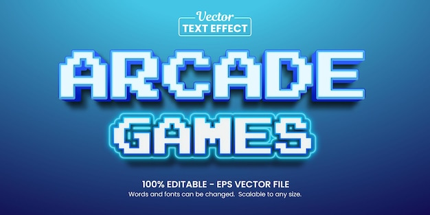 Retro-arcade-spiele, bearbeitbarer texteffekt