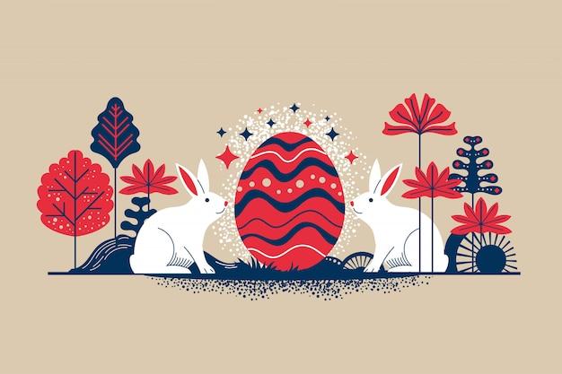 Retro-artillustration frohe ostern-grußkarte mit blumeneiern und kaninchenelementen