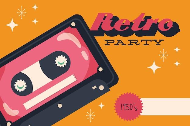 Retro-artplakat mit kassetten- und beschriftungsvektorillustrationsentwurf