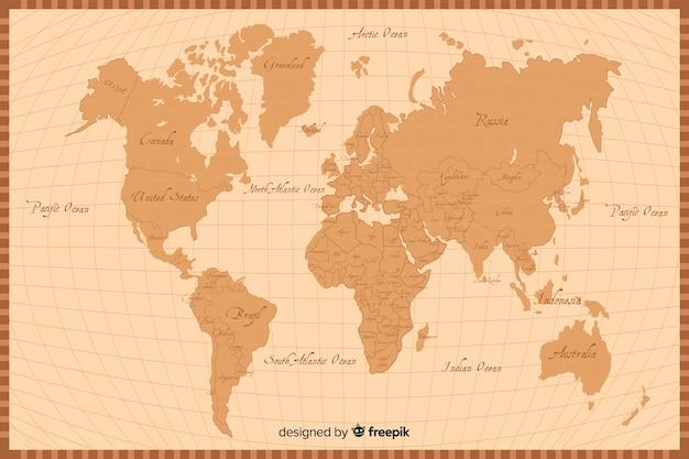 Retro artweltkarten-beschaffenheitshintergrund