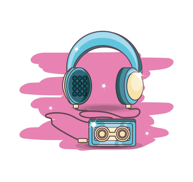 Retro- audiogerätkarikatur