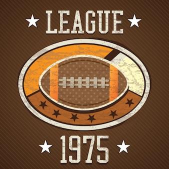 Retro- aufkleber 1975 des amerikanischen fußballs auf braunem hintergrund