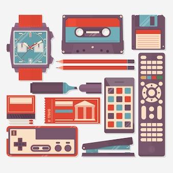 Retro- ausrüstungen, zubehör und sachenikonen eingestellt. flache vektor-illustration
