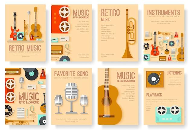 Retro-ausrüstungsmusik-satzkreis-infografiken-schablonenkonzept