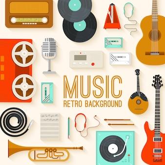 Retro-ausrüstungsmusik-satzkreis-infografikenschablonenkonzept