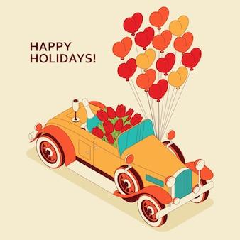 Retro auto cabrio mit großem strauß tulpen, champagner und herzballons.