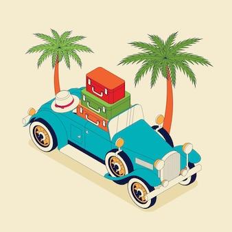Retro auto cabrio mit koffern und palmen. oldtimer ab 30 in blauer farbe.