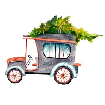 Retro-auto in schwarz mit kupfereinsätzen mit einem weihnachtsbaum an der spitze