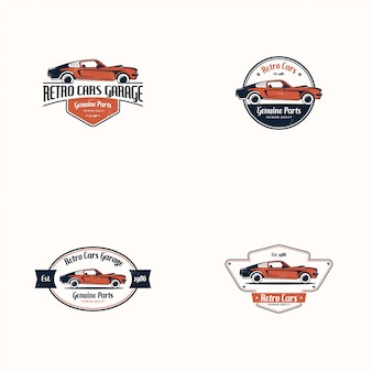 Retro auto-logo festgelegt. klassisches fahrzeug