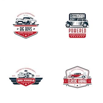 Retro auto logo vorlage vektor. klassisches fahrzeuglogokonzept lokalisiert im weißen hintergrund