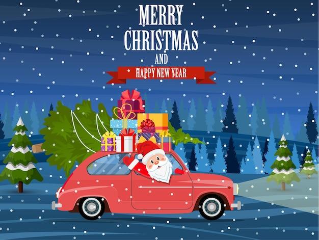 Retro-auto mit weihnachtsbaum