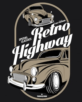 Retro autobahn, super oldtimer illustration