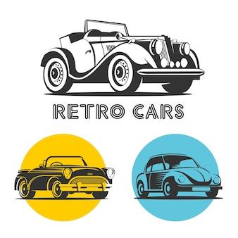 Retro-autos. set von vektorlogos