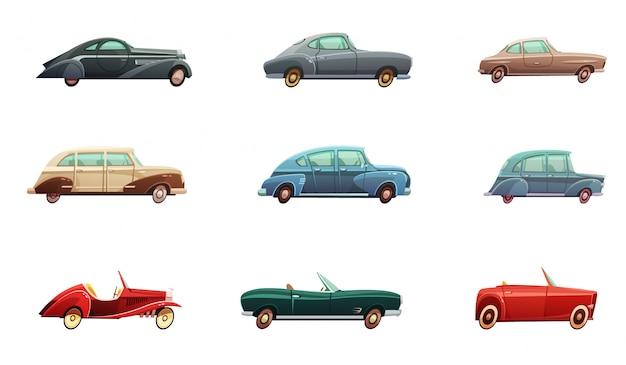 Retro-autosatz von klassischen sport- und cabrio-seitenansichtmodellen der mitte des zwanzigsten jahrhunderts