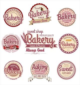 Retro bäckerei abzeichen und etiketten