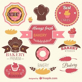 Retro bäckerei etiketten gesetzt