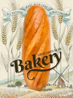 Retro-bäckereianzeigen, köstliches riesiges französisches brot in der illustration mit buntem weizenfeld und landschaftslandschaft im radierungsschattierungsstil