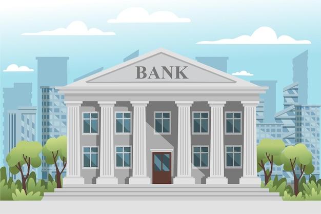 Retro- bankgebäude des flachen designs mit säulen- und fenstervektorillustration am guten sonnigen tag der modernen stadtlandschaft mit blauem himmel und wolkenhintergrund