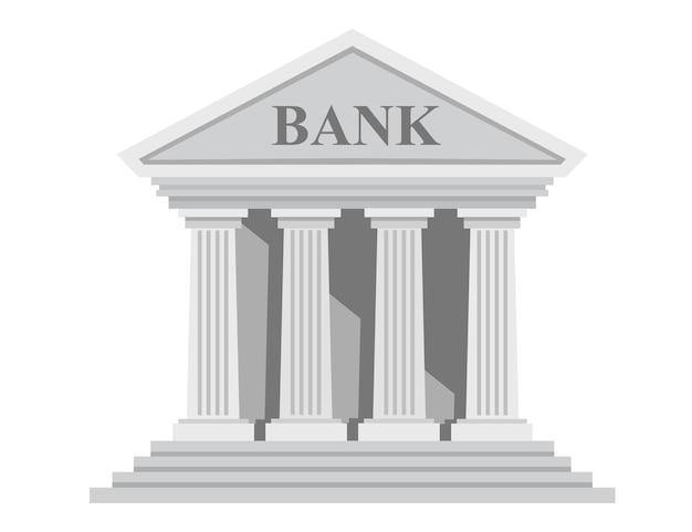Retro-bankgebäude des flachen designs mit spalten ohne fenstervektorillustration lokalisiert auf weißem hintergrund