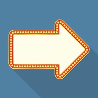 Retro banner mit lichtern als pfeil geformt, flaches design mit langen schatten