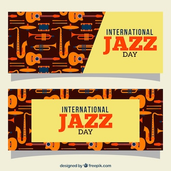 Retro-banner von jazz musikinstrumente