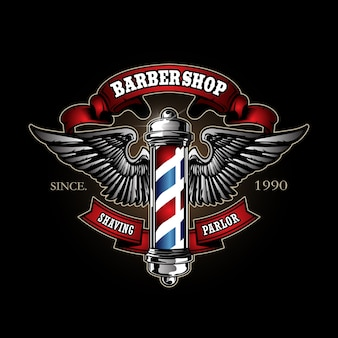Retro barber pole logo