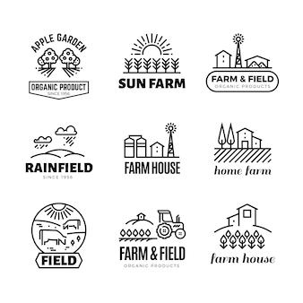 Retro bauernhof und bioprodukte vector embleme und logos. vintage linie landwirtschaft etiketten