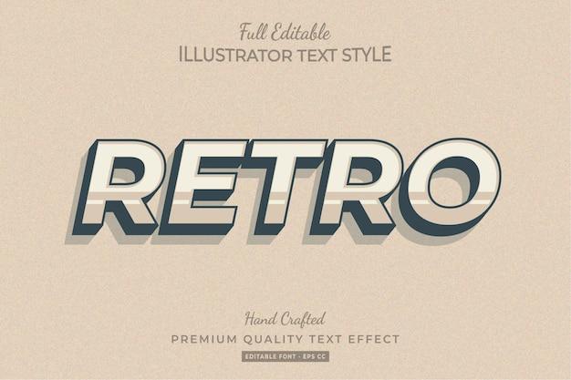 Retro bearbeitbarer 3d-textstil-effekt premium