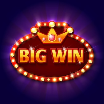 Retro big win plakatwand mit glühbirnen