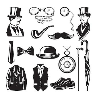 Retro-bilder im viktorianischen stil. illustrationen für gentleman club labels. gentleman im viktorianischen englischen stil und mode, kleidung dandy