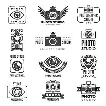 Retro bilder und logos für fotostudios.