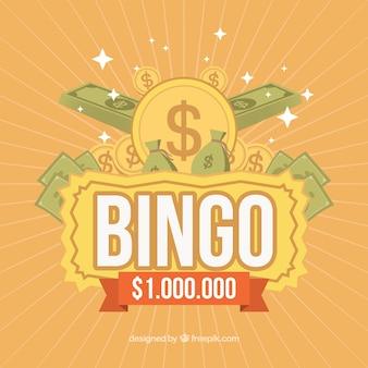 Retro bingo hintergrund mit banknoten und münzen