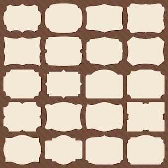 Retro blankopapier etikettenformen. elegante rahmen der weinlese für hochzeitseinladungs-vektorsatz