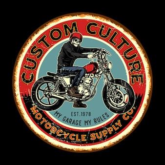 Retro-blechschilder der kundenspezifischen motorrad-kultur