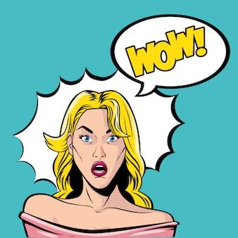 Retro blonde karikatur der frau mit fernglas und wow-explosionsvektor