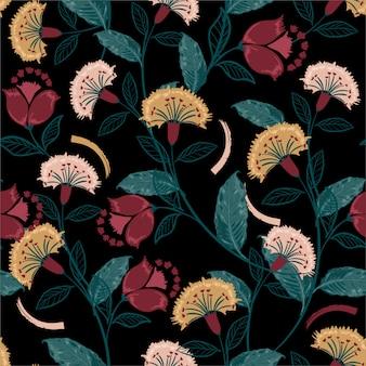 Retro böhmisches blumen-, buntes nahtloses muster, hand gezeichnete volksart, design für mode, gewebe, drucke, tapete, verpackung und alle drucke