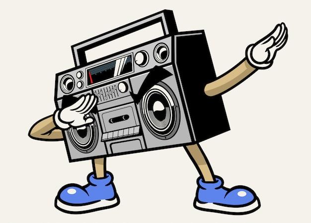 Retro boombox stereoband-maskottchencharakter, der haltung betupft