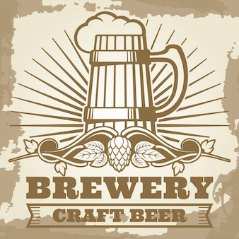 Retro- brauereiplakat mit bieraufkleber