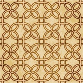 Retro braunes strukturiertes nahtloses muster, kurve runder eckquadratrahmen