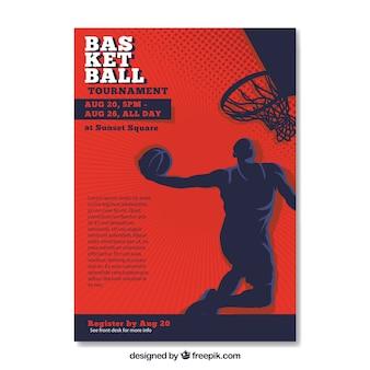 Retro-broschüre mit basketball-spieler silhouette