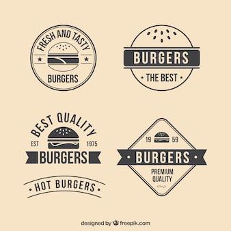 Retro burger abzeichen