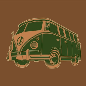 Retro camper van reise illustration