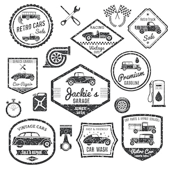 Retro car label schwarz set