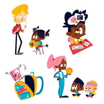 Retro cartoon bildung aufkleber illustration