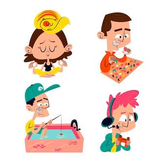 Retro cartoon bleiben zu hause aufkleber sammlung