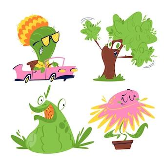 Retro cartoon blumen und pflanzen aufkleber set