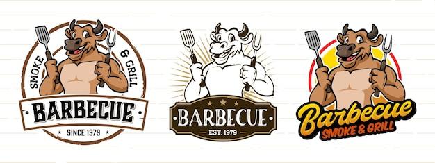 Retro-cartoon-grill-logo mit kuh